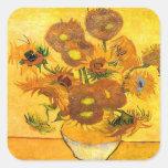 Vaas met Vijftien Zonnebloemen door Vincent van Vierkant Sticker