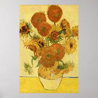 Vaas met Vijftien Zonnebloemen, Van Gogh Fine Art. Poster