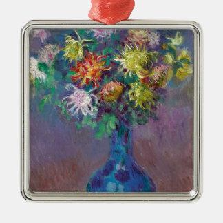 Vaas van Chrysanten Claude Monet Zilverkleurig Vierkant Ornament