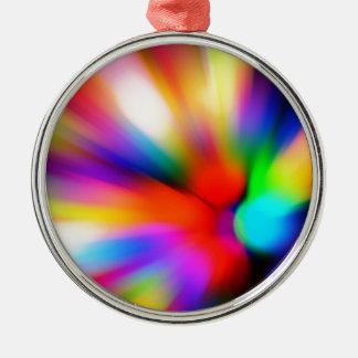 Vage multikleurenlichten zilverkleurig rond ornament