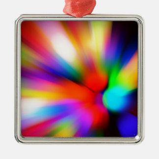 Vage multikleurenlichten zilverkleurig vierkant ornament