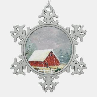 Vakantie op de Hoeve Tin Sneeuwvlok Ornament