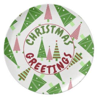 Vakantie van de Bomen van de Groeten van Kerstmis Melamine+bord