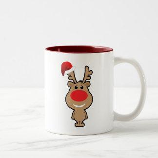 Vakantie van grappige santa van Kerstmis Tweekleurige Koffiemok