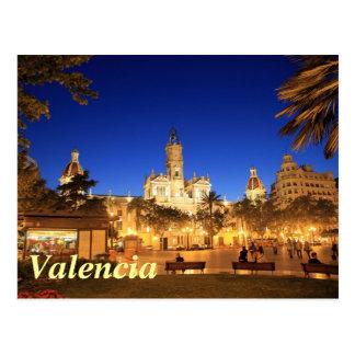Valencia: Plein 's nachts Ayuntamiento Briefkaart