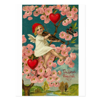 Valentijn Begroetend Cupido met de Roze Viool van Briefkaart