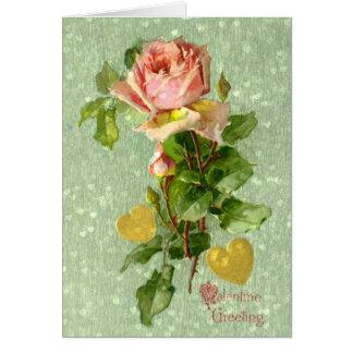 Valentijn dat de Roze Rozen van Vintage Valentijn Notitiekaart