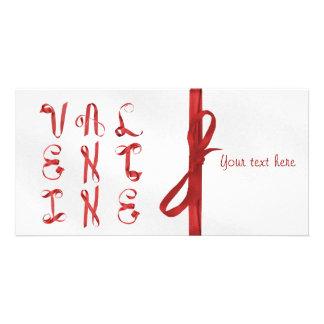 """""""Valentijn"""" met Linten wordt geschreven dat Fotokaart Sjabloon"""