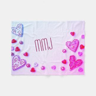 Valentijn met monogram werpt fleece deken