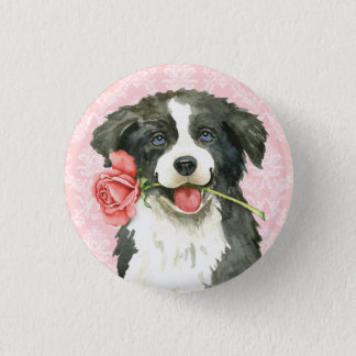 Valentijn nam Border collie toe Ronde Button 3,2 Cm