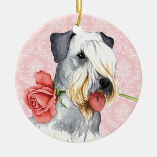 Valentijn nam Doberman toe Rond Keramisch Ornament