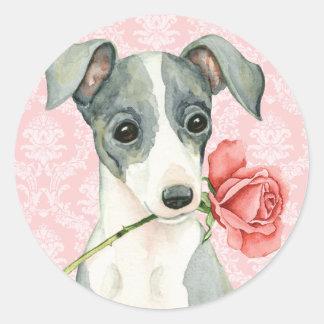 Valentijn nam Italiaanse Windhond toe Ronde Stickers