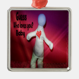 Valentijn Zilverkleurig Vierkant Ornament