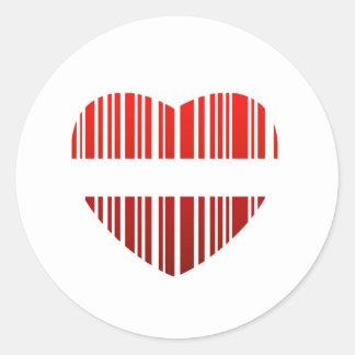 valentijnskaart streepjescode ronde stickers