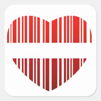 valentijnskaart streepjescode vierkante sticker