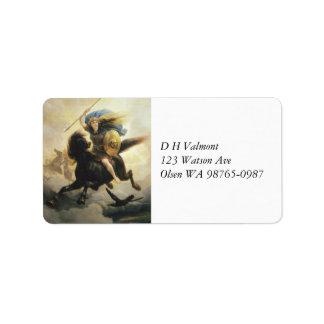 Valkyrie met Schild op Horseback Etiket