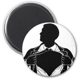 Van Bedrijfs superhero Man die Overhemd scheuren Ronde Magneet 5,7 Cm
