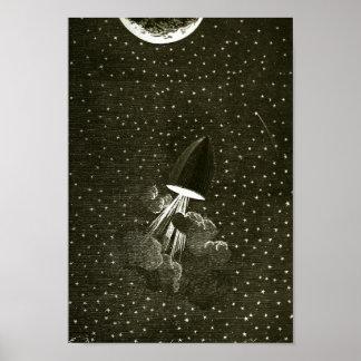 Van de Aarde aan de Maan door het art. van Jules Poster