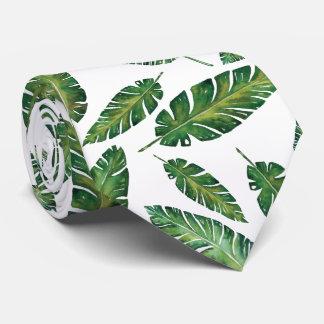 Van de banaanbladeren van de waterverf tropisch de persoonlijke stropdassen