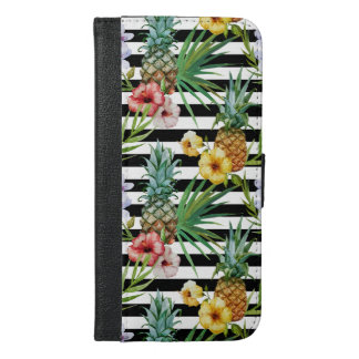 Van de de ananas de tropische bloem van de iPhone 6/6s plus portemonnee hoesje