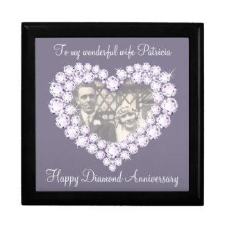 Van de de diamanten bruiloftfoto van het hart de decoratiedoosje
