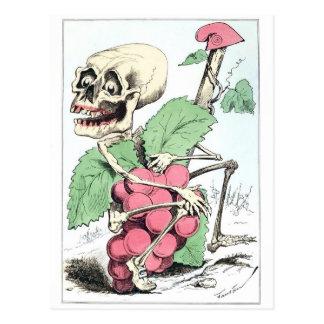 Van de de druivendief van het skelet het vintage briefkaart