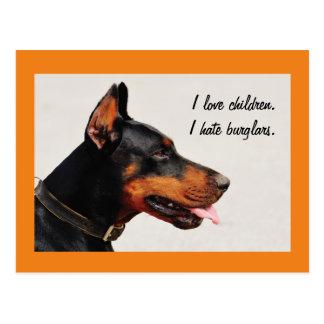 """Van de de inbrekers"""" hond van Doberman """"ik het Briefkaart"""