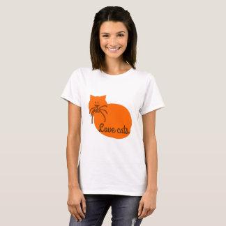 Van de de kattencartoon van de liefde de katten t shirt