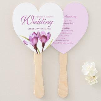 Van de de krokus de paarse bloem van het huwelijk handwaaier