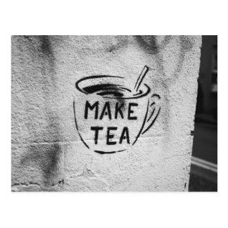 van de de kunst de sloganbriefkaart maak thee va wenskaart