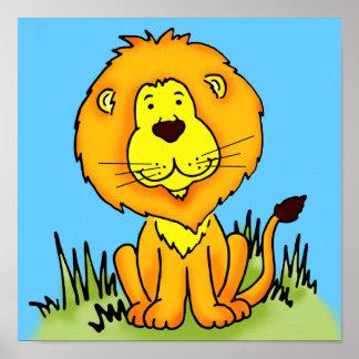 Van de de kunst het grafische leeuw van kinderen poster
