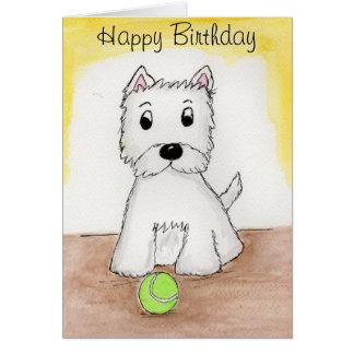Van de de kunstkaart van de Verjaardag van Westie Briefkaarten 0