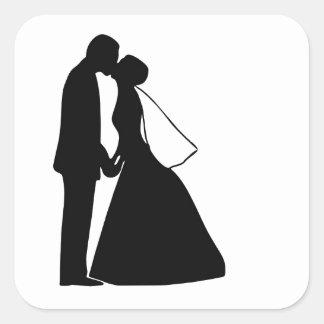 Van de de kusbruid en bruidegom van het huwelijk vierkante sticker