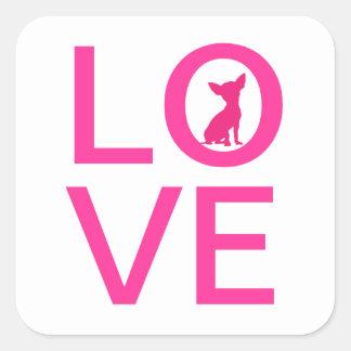 Van de de liefde de roze hond van Chihuahua leuke Vierkante Sticker
