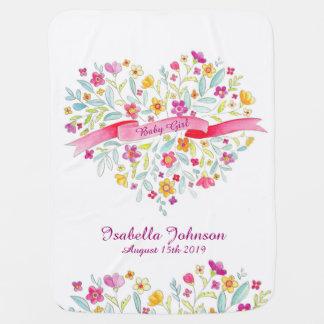 Van de de meisjes de mooie bloem van het baby kinderwagen dekentje