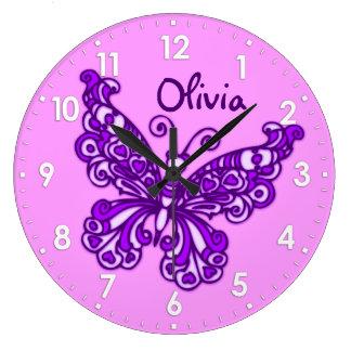 Van de de meisjesruimte van de vlinder de paarse grote klok