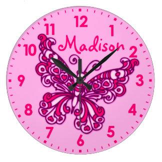 Van de de meisjesruimte van de vlinder de roze ronde klok large