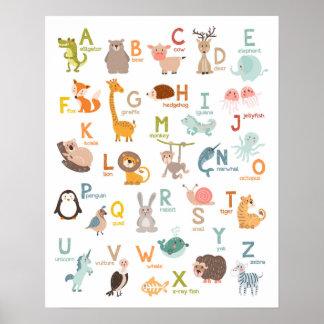 Van de de muurkunst van het alfabet de dieren poster