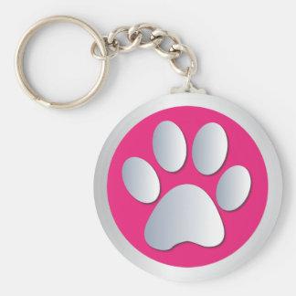 Van de de pootdruk van de hond zilveren, roze keyc basic ronde button sleutelhanger