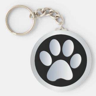 Van de de pootdruk van de hond zilveren, zwarte ke basic ronde button sleutelhanger