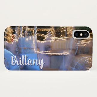 Van de de prinsesbus van Sparkly de gouden blauwe iPhone X Hoesje