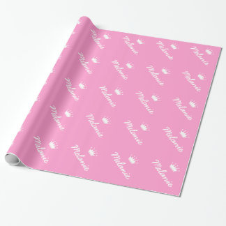 Van de de prinseskroon van de pret roze het baby cadeaupapier