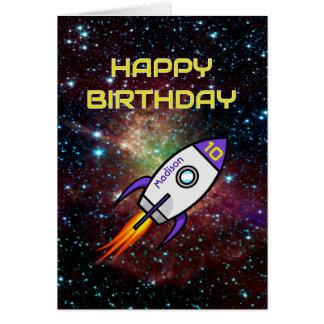 Van de de raketdouane van de verjaardag de paarse kaart