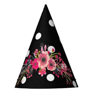 Van de de stippenglamour van bloemen de zwarte feesthoedjes