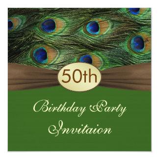 Van de de veren vijftigste Verjaardag van de pauw 13,3x13,3 Vierkante Uitnodiging Kaart