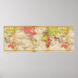 van de de wereldkaart van 1918 de Imperiums en de Poster