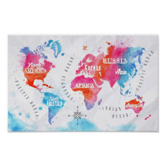 Van de de wereldkaart van de waterverf het roze poster