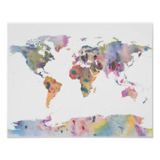 Van de de wereldkaart van Watercolour abstract de Poster