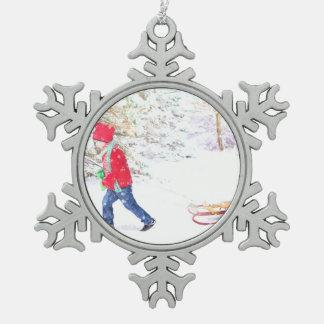 Van de de winterslee van de sneeuw het vakantie tin sneeuwvlok ornament