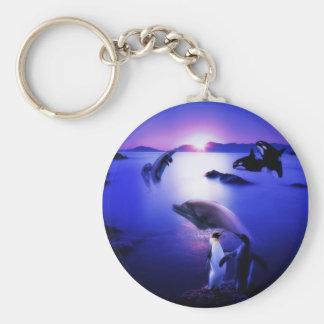 Van de dolfijnenpinguïnen van walvissen de oceaanz basic ronde button sleutelhanger